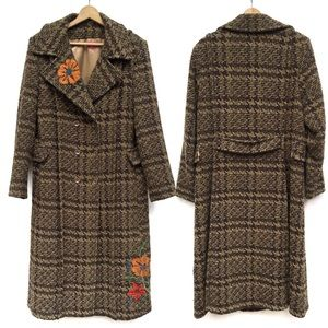 Oilily Houndstooth Floral Embroidered Duster Coat